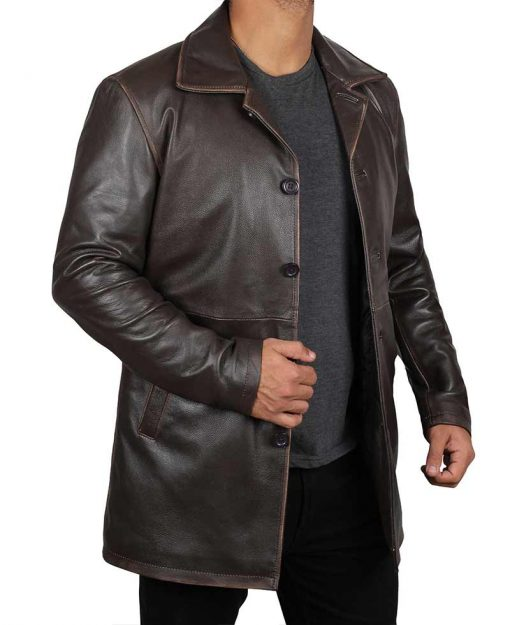 Distressed leather coat brown