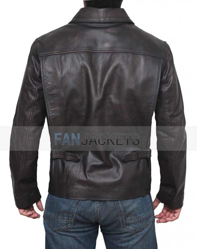 Oxpecker Mens Indiana Jones Harrison Ford Vintage Brown Motorcycle Leather Jacket