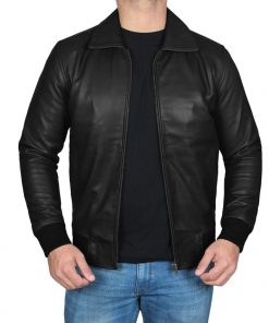 men fonzie leather bomber jacket