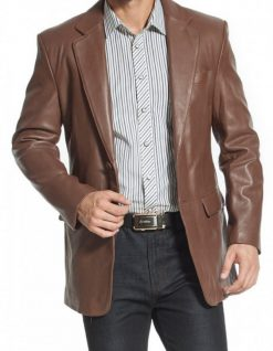 Two-Button-Leather-Blazer