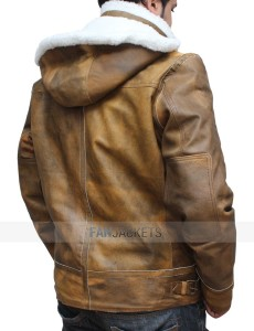 Brown Fur Collar Distressed Leather Jacket