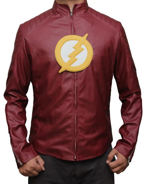the flash red leather jacket