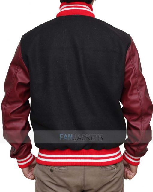 Black and Burgundy Baseball Jacket