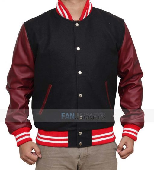 Black and Burgundy High School Jacket