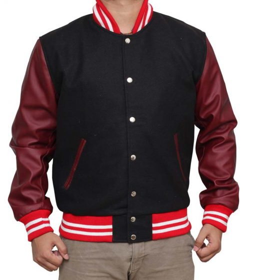 Black and Burgundy Letterman Jacket