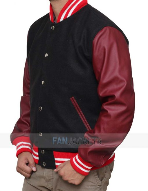 Black and Burgundy Varsity Jacket