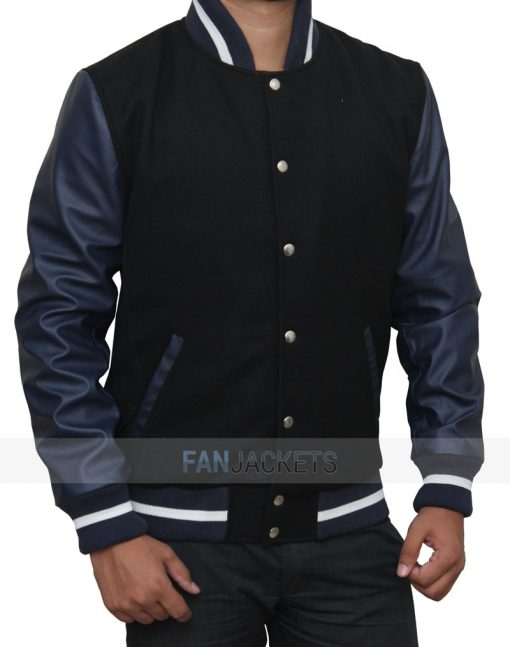 Navy Blue And Black High School Jacket