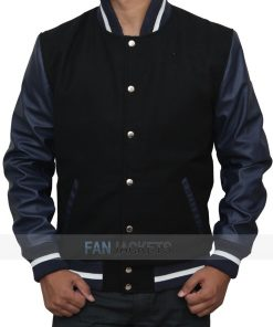 Navy Blue And Black Varsity Jacket