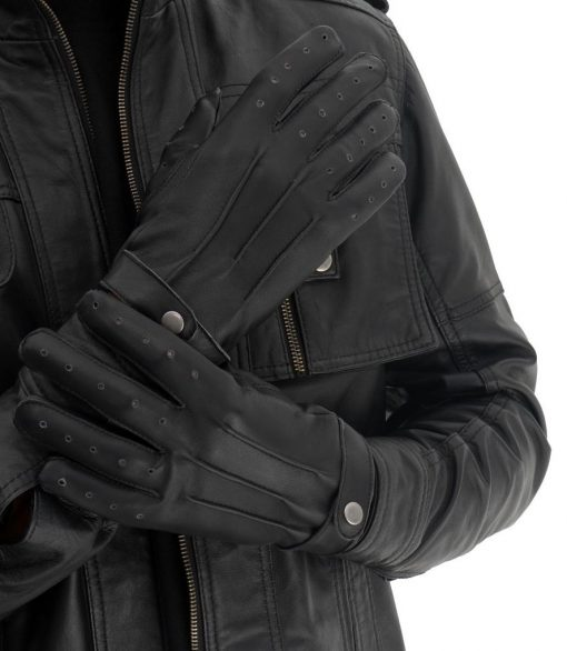 Leather Motorcycle Black Gloves