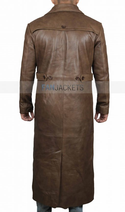 full length brown leather coat