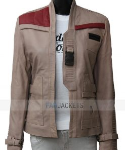 Finn Women Beige Leather Jacket