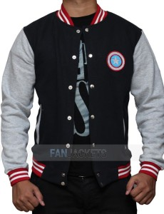 Captain America Blue And Grey Letterman Jacket