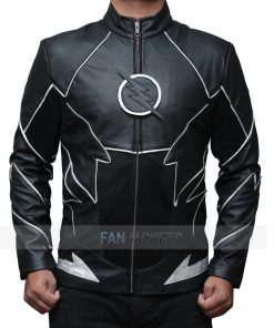 Black Zoom Flash Leather Jacket