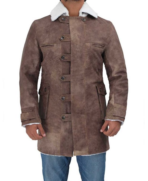 Bane Real Leather brown coat mens