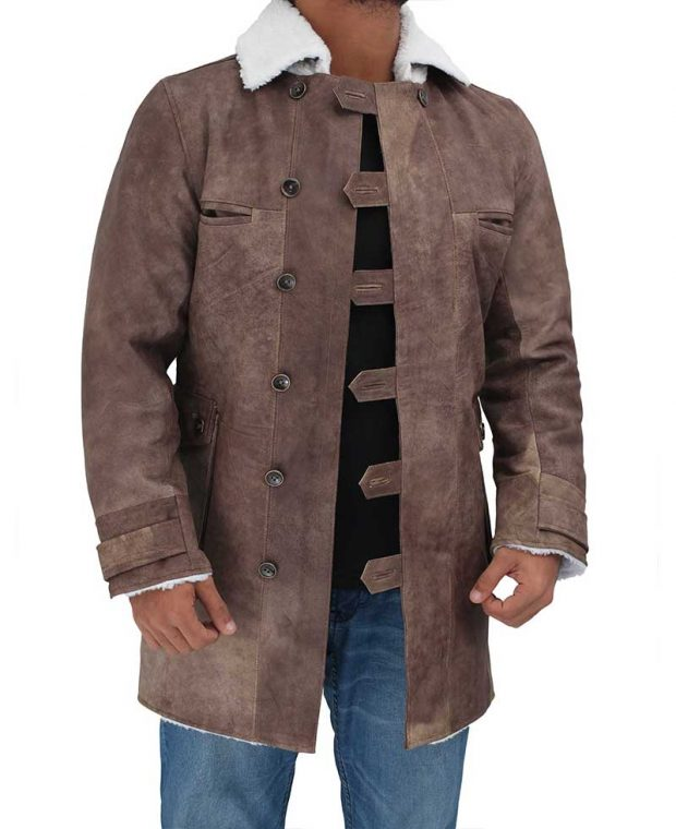 brown leather coat men