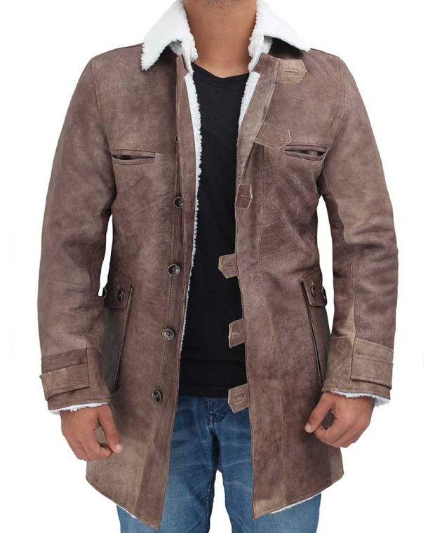 mens brown leather coat