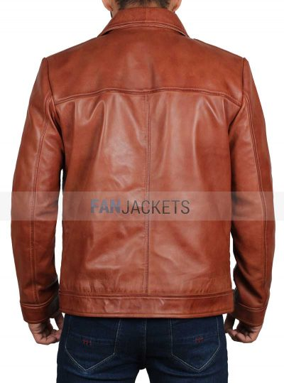 brown leather jacket man