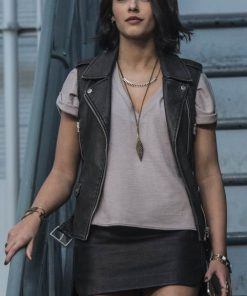 Kimberly black leather vest