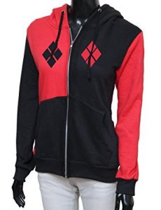Harley Quinn Red and Black zipper hoodie