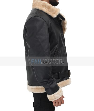 belted leather jacket mens shearling