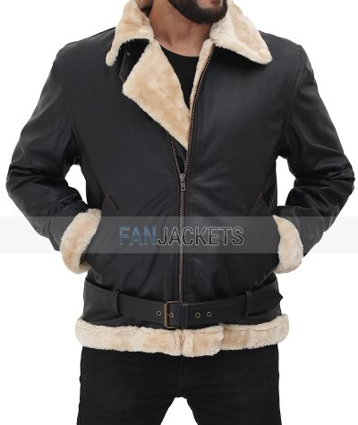 mens shearling leather jacket with belt