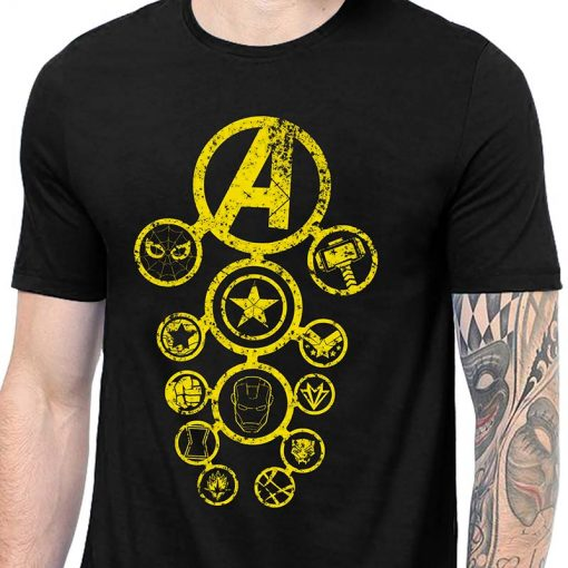 Avengers Infinity War Distressed Yellow T Shirt