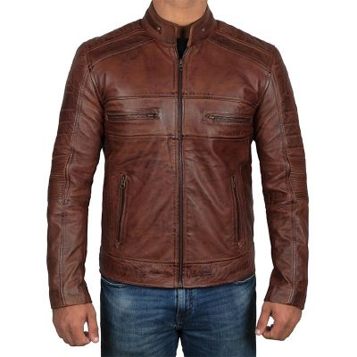 Chocolate Brown Waxed leather mens jacket