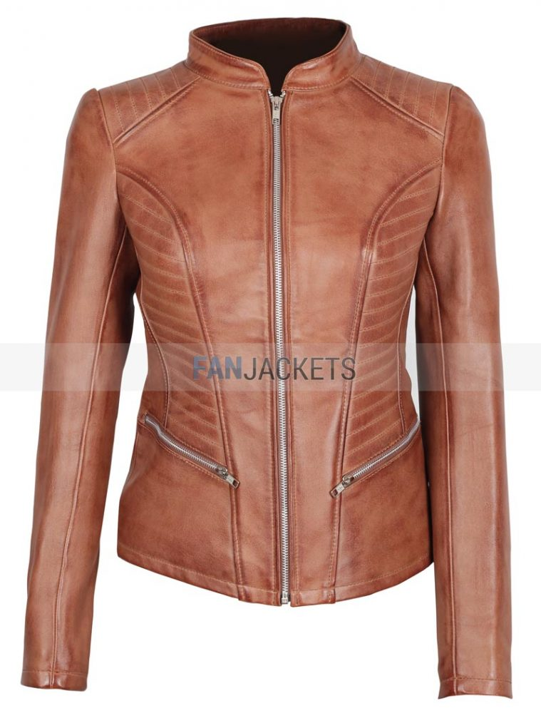 Fitted Leather Jacket Womens Brown Slim Fit Style 43 Off