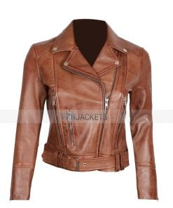 brown leather moto jacket women's