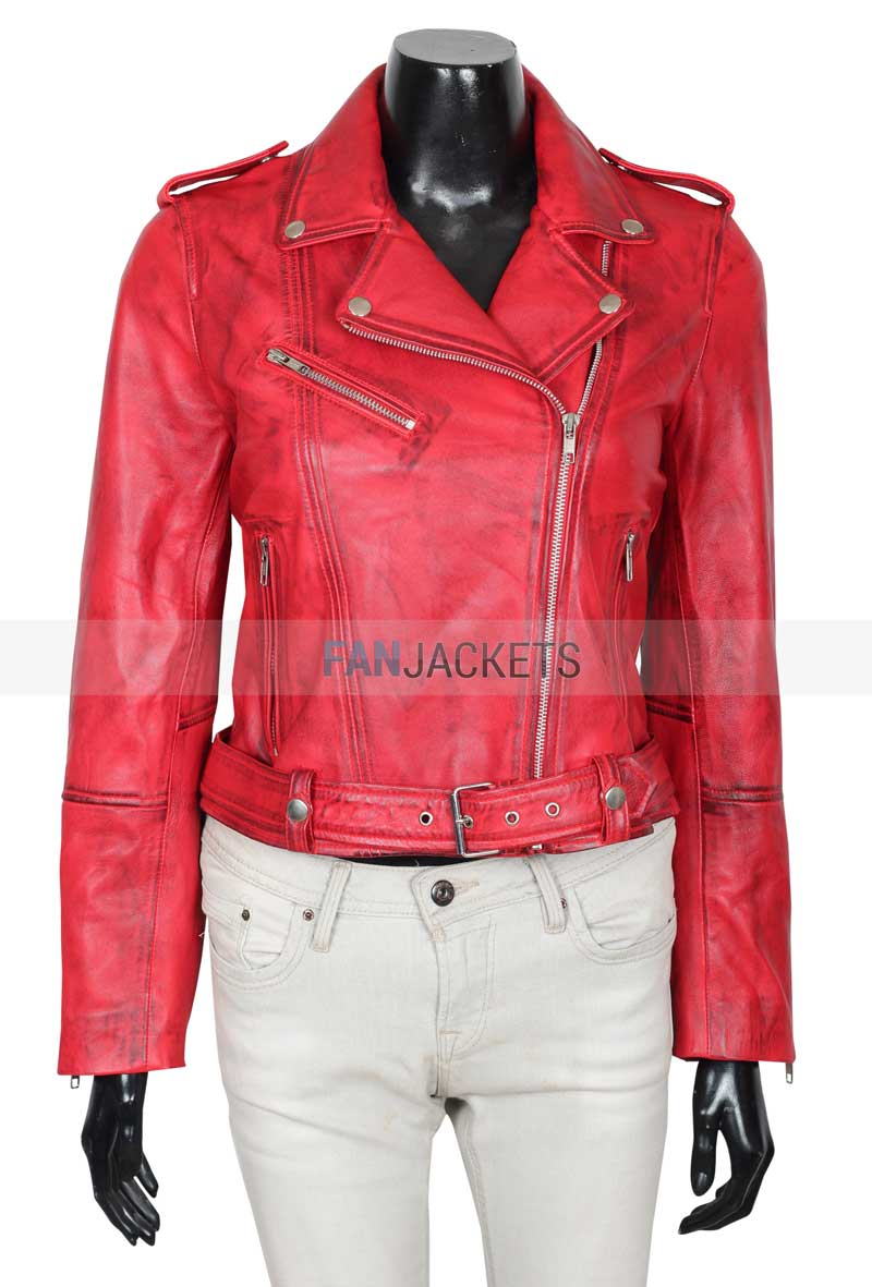 choose official latest collection 2019 wholesale price Margaret Asymmetrical Red Leather Motorcycle Jacket Womens