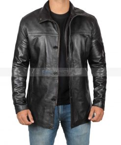leather long jacket overcoat