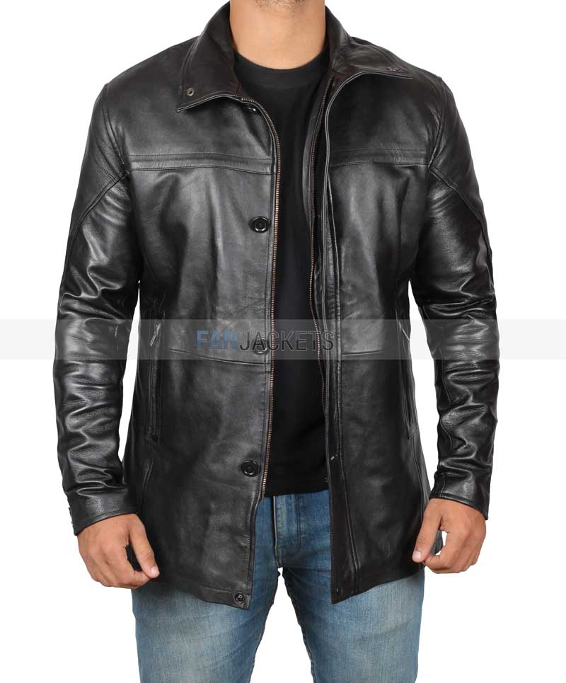 Mens Casual Shirt Style Maroon Real Sheepskin Leather Jacket