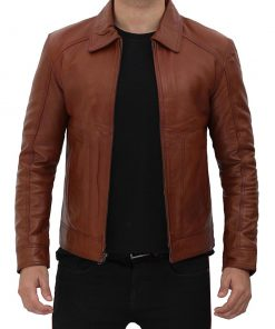 shirt collar cognac leather jacket