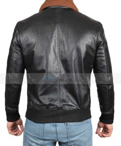 Black Shearling Jacket Bomber Leather Mens Guaranteed Delivery