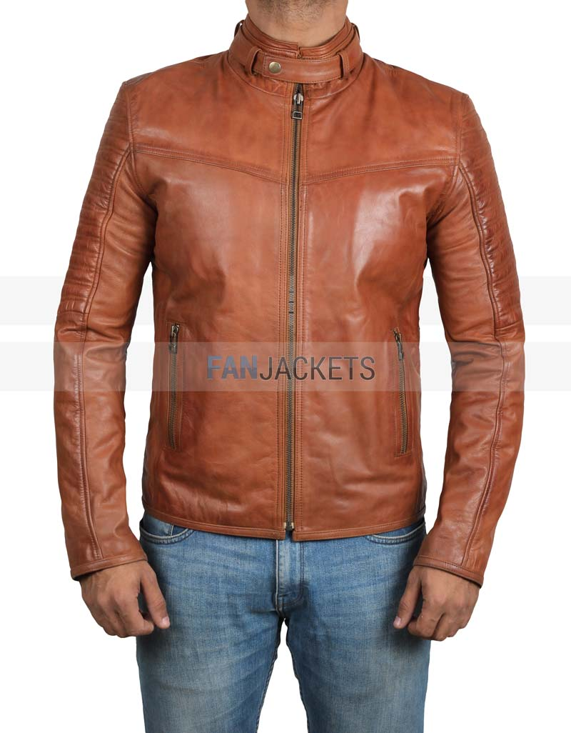 detailed pictures new authentic 100% quality quarantee Edmund Mens Cognac Leather Brown Biker Jacket