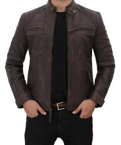 Biker Leather Jacket Dark Brown