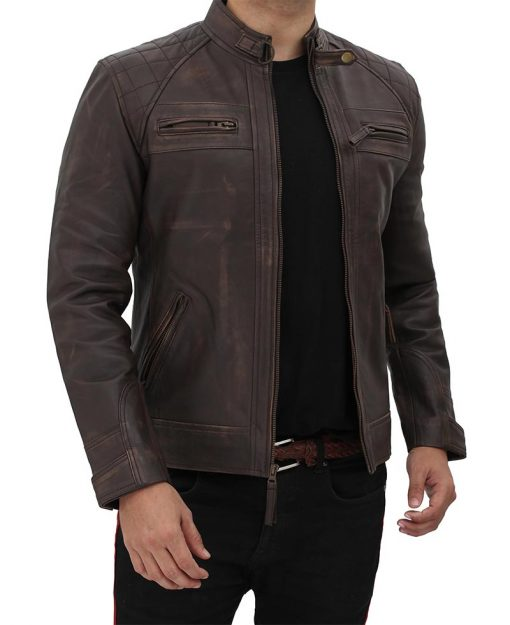 Brown Distressed Leather Jacket men