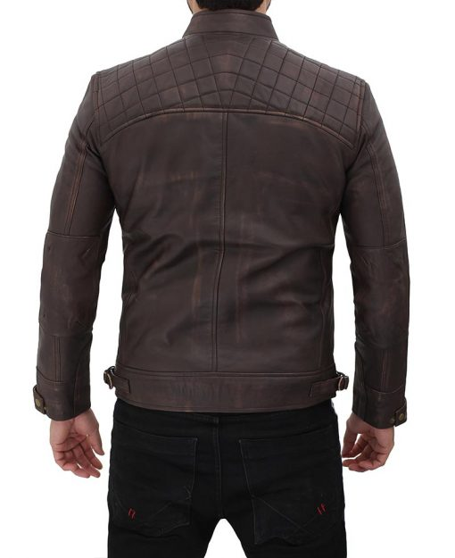 Dark Brown Quilted Leather Jacket