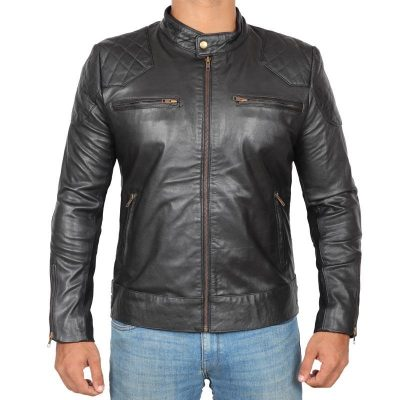 David Beckham real leather jacket black