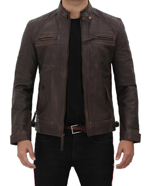 Distressed Brown Leather Jacket men