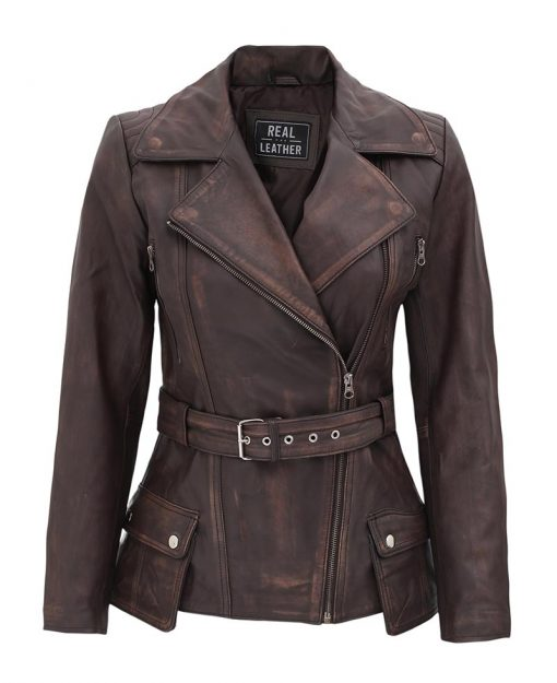 Distressed brown moto leather jacket women