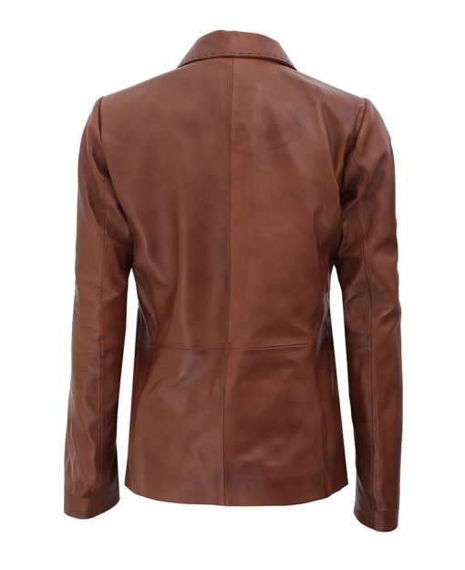 Leather Blazer Brown