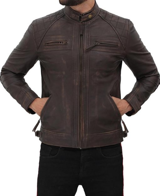 Leather Jacket Distressed Brown for men