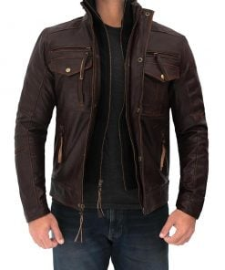Mens Distressed brown leather jacket four pocket