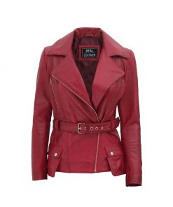 Red Leather belted Jacket