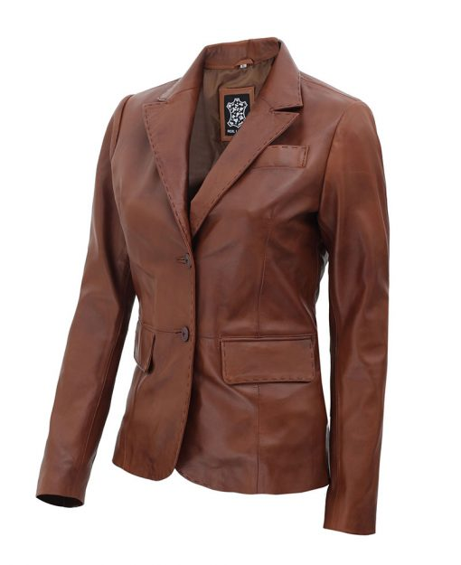 Womens Brown Leather Blazer