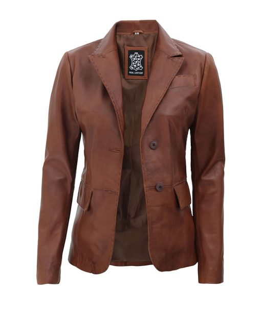 Womens Casual Leather Blazer Jacket