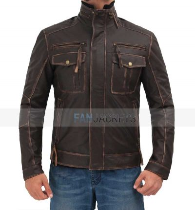 biker distressed leather jacket men