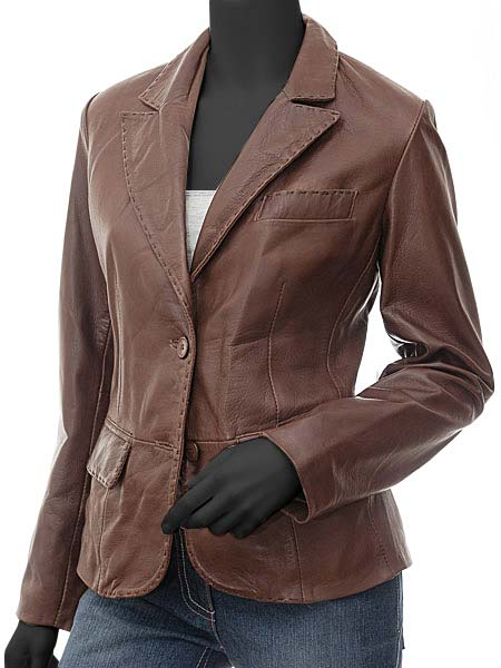 979424ce0cea8 Brown Leather Blazer Womens - Ladies Brown Leather Jacket