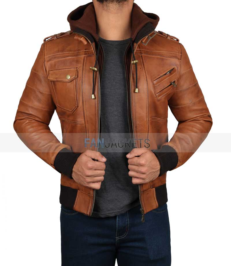 1649ed33a85 Brown Leather Bomber Jacket - Hooded Style